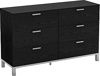 South Shore Furniture Flexible Collection 6-Drawer Double Dresser, Black Oak with Matte Grey Handles