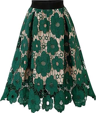 QIYUN.Z Womens Basic Solid Flared Lace Stitching Mini Skater Skirt Green One Size