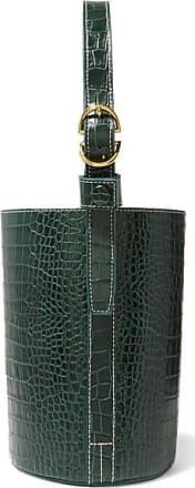 Trademark Small Croc-effect Leather Bucket Bag - Dark green