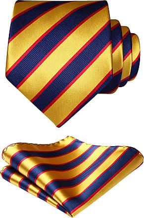 Hisdern Striped Wedding Tie Handkerchief Mens Necktie & Pocket Square Set (Navy Blue & Yellow), Navy Blue / Yellow, One size