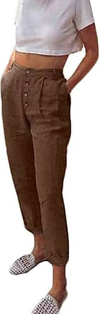 JERFER Women High Waist Long Pants Solid Color Button Casual Pencil Pocket Trousers Fashion Causal Sexy Pants Brown