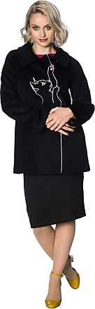 Banned Apparel Kitty Cat Embroidered Retro 60s Ladies Winter Coat[4XL (UK 22)] Black