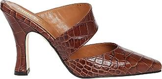 PARIS TEXAS Croco Print Leather Mules, 36.5 Brown