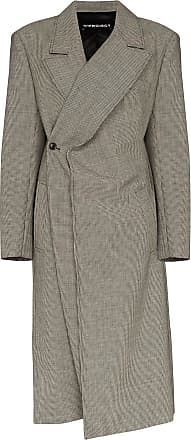 Y / Project check-pattern wrap-around coat - Black