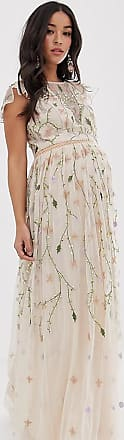 Asos Maternity ASOS DESIGN Maternity pretty embroidered floral and sequin mesh maxi dress-Multi