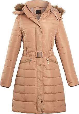 Shelikes Womens Ladies Belted Faux Fur Hood Hooded Long Parka Jacket Quilted Winter Coat [Beige S]