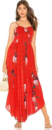 Free People Beau Smocked Printed Slip Dress in Red