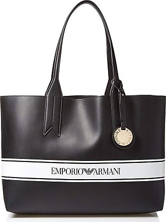 Emporio Armani Womens Designer Logo Stripe Shoulder Tote Bag, Black/White, One Size