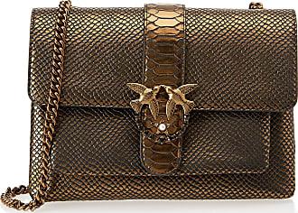 Pinko Womens Big Love Bronze Python Tracolla Pelle St.Pitone Shoulder Bag, Marrone (Bronzo), One Size
