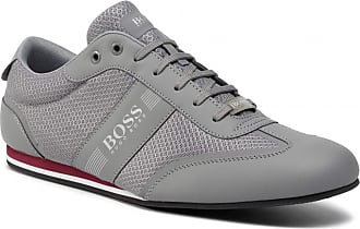 BOSS Hugo Mens Lace Up Mesh Detail Trainers 50370438 - Medium Grey (UK 6, Medium Grey)
