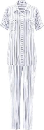Avena Damen Schlafanzug Weiß gestreift Gr. 38, 40, 42, 44, 46, 48