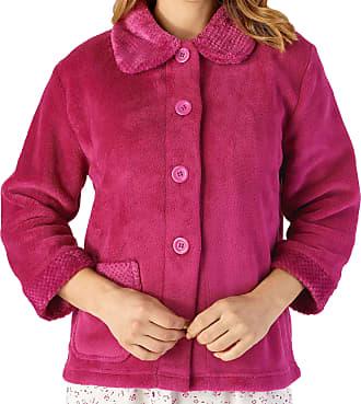 Slenderella Ladies 3/4 Sleeve XXX Large Soft Raspberry Soft Coral Fleece Button Up Bed Jacket Coat Size 28 30