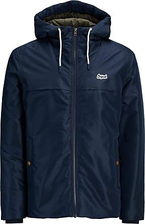 Jack & Jones Originals Jacket Mens Hooded Long Sleeve Zip Coat Jornew Canyon 12137648 (X Large, Total Eclipse)