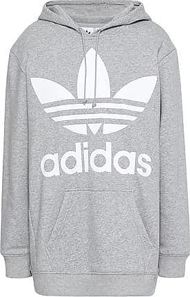 905e35a79b719 adidas Adidas Originals Woman Mélange Printed Cotton-blend Fleece Hooded  Sweatshirt Light Gray Size 30