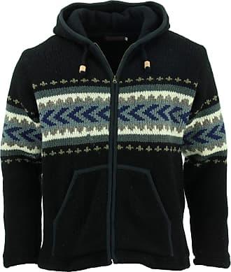 Loud Elephant Wool Knit Chevron Hooded Jacket - Black (Medium)