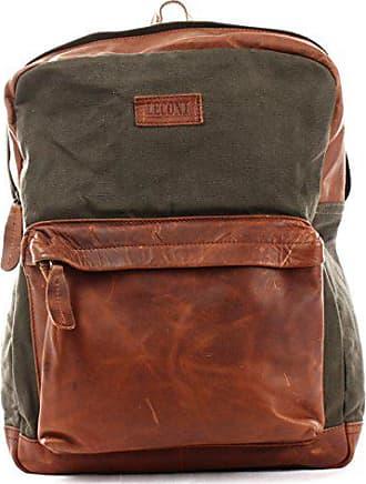 d81c2a2f39b252 Leconi Rucksack Lederrucksack für Damen & Herren Vintage-Style  Schulrucksack Retro Freizeitrucksack DIN A4 backpack