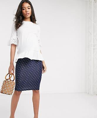 Asos Maternity ASOS DESIGN Maternity jersey midi pencil skirt in navy spot print-Blue