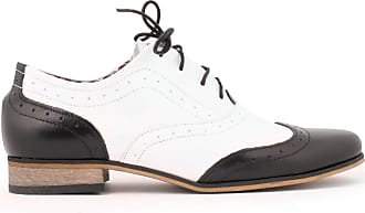 Zapato Womens Leather Oxford Shoes Model 246 Black White