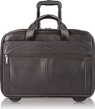 SOLO Solo New York Walker Rolling Laptop Bag. Premium Leather Rolling Briefcase for Women and Men. Fits up to 15.6 inch laptop - Espresso