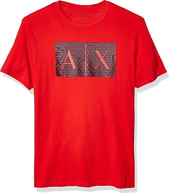 A X Armani Exchange A X Mens Triangulation Crew Neck Tshirt T-Shirt, High Risk Red, Large