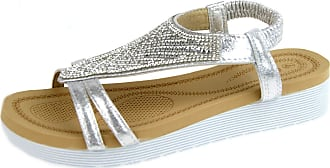 Lora Dora Womens Jewel Wedge Sandals Elastic Stretch Shoes Full Top Silver UK 7