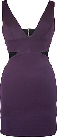 Topshop Womens Deep V Neck Purple Cut Out Bodycon Mini Dress Size 10