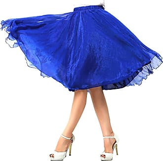 OCHENTA Womenss A line Midi Knee Length Chiffon Princess Skirts Sapphire Blue