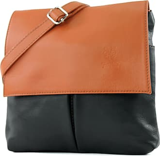 modamoda.de Italian bag shoulder bag messenger satchel womens bag real leather T63, Colour:Black/cognac