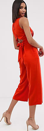 Warehouse jumpsuit with open back in red