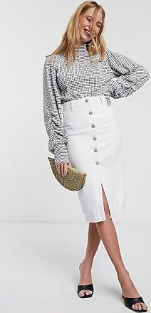 Glamorous Midi-Jeansrock mit seitlichen Knöpfen-Weiß