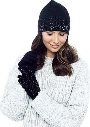 Foxbury Ladies Diamante Hat and Gloves Set Black