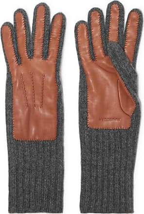 Burberry Ribbed Cashmere And Leather Gloves - Tan