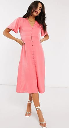 Warehouse button front satin midi dress in coral-Pink