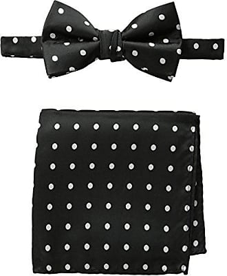 Stacy Adams Stacy Adams Mens Satin Dot Bow Tie Set, Black/White, One Size