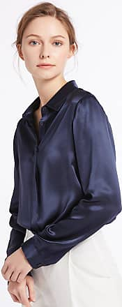 LilySilk Womens Charmeuse Silk Blouse Long Sleeve Ladies Top Shirt 100% Pure 22 Momme Silk Navy Blue Size 20-22/XXL
