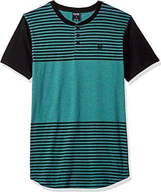 Zoo York Mens Short Sleeve Henley Shirt, Gold St Pool Green Heather, Small
