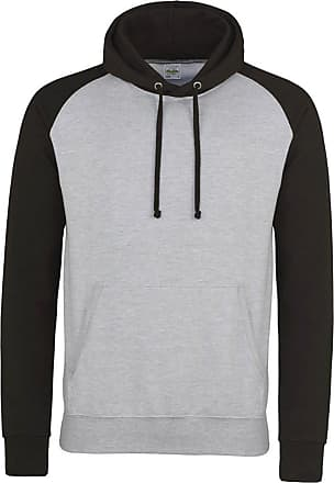 Awdis Mens Baseball Hoodie Jacket Contrast Raglan Sleeves Ribbed Cuffs and Hem (Small, Heather Grey/Jet Black)