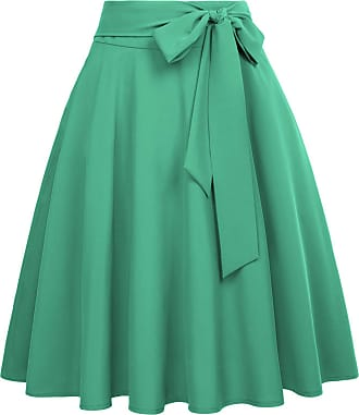 Belle Poque Summer Women Evening Party Solid Color Side Pockets Swing Skater Skirts Green(561-19) Small