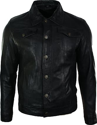 Infinity Mens Vintage Short Denim Style Retro Leather Jacket Black Casual
