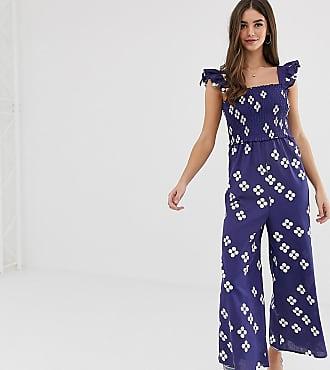 Asos Tall ASOS DESIGN Tall shirred frill sleeve jumpsuit in spot print-Multi