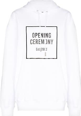 Opening Ceremony white box logo cotton hoodie - Branco