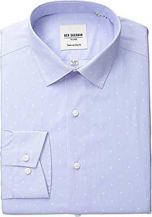 Ben Sherman Mens Slim Fit Polka Dot Dress Shirt, Blue/White, 15.5 Neck 32-33 Sleeve