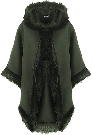 Love my Fashions Womens Plain Italian Lagenlook Quirky Layering Cape Poncho Ladies Faux Fur Hooded Trim Wool Cloak Wrap Winter Coat Size Fits UK Size 8-20 Khaki