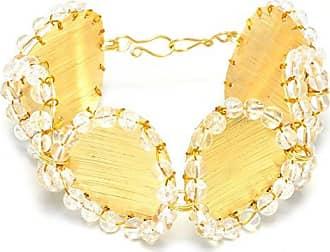 Tinna Jewelry Pulseira Dourada Discos Com Cristal Craquelê