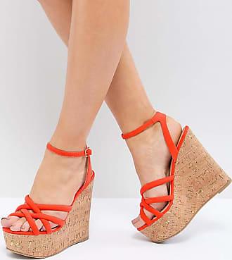 dfbc5670fbe42 Asos TULITA - Chaussures compensées à talons hauts pointure large - Orange