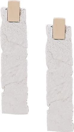 Nove25 Par de brincos retangular do textura - Branco