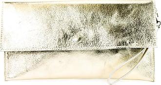modamoda.de Modamoda de - ital. Leather Bag Clutch Underarm Bag Evening Bag Leather Metallic M106-151, Colour:M151 Light Gold Metallic