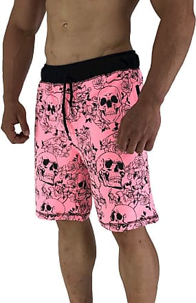 MXD Conceito Bermuda Moletom MXD Conceito Skull Fluorescent Pink Roses Bolsos Laterais (EG)