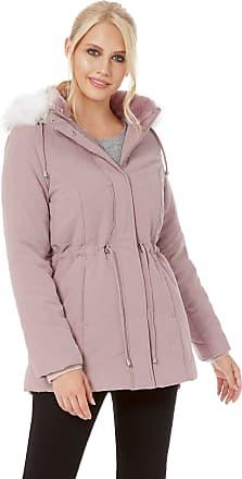 Roman Originals Women Microfibre Padded Parka Jackets Duffle Coat - Ladies Smart Autumn Winter Warm Faux Fur Lined Detachable Hood Pockets Classic Thermal Coats - Pin