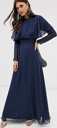 Asos long sleeve cape back maxi dress with tie waist-Blue